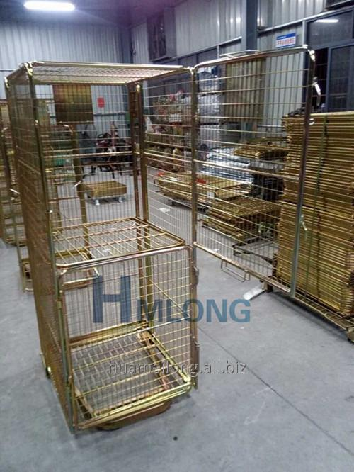 BY-10 4 sided warehouse wire security roll cage