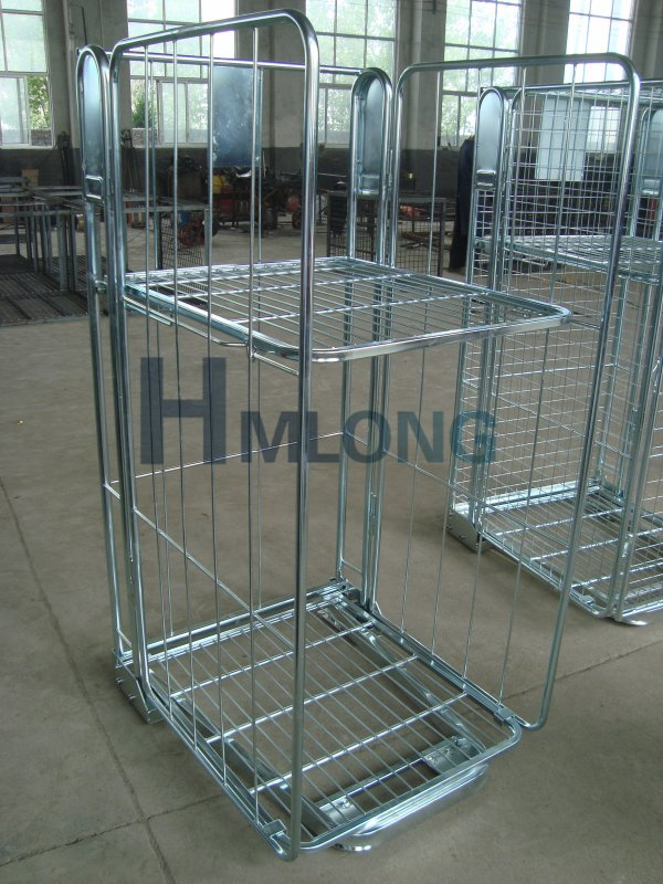 BY-08 3 sided warehouse wire security roll cage