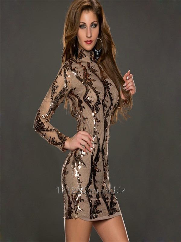 sexy_women_brown_bandage_sequin_dress