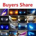 LED daytime running lights white turn signal yellow guide strip for headlights  with free shipping