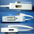 Male Mini Displayport to DVI-D, HDMI or Displayport Female Adapter