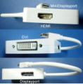 Male Mini Displayport to DVI-D, HDMI or Displayport Female Adapter