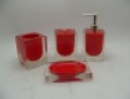 4pcs red and modern polyresin bathroom set