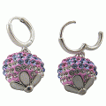 925 silver three-color swarovski crystal hook earring