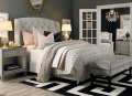 BED-A015 nails trim wingback fabrice beds ,vintage upholstered beds