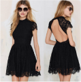 Sexy Black Open Back Lace Dress