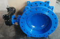 Double offset butterfly valve flange end gear operation