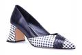 MeetU_JHX Cour de femmes chaussures noir Whilte Joint Design fantaisie talons bout pointu pompes Style Chic