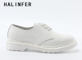 HALINFER martin shoes for women genuine leather round toe platform lace up Casual Lovers flats work shoes