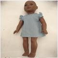 Frida 18 inch fixed eye with 8 mm eyelash african vinyl doll
