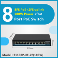 8FE 2FE poe Switch 250M POE Power Over Ethernet Switch POE Network Fro IP Camera 10/100Mbps Network Vlan Smart Switch 1000M