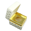 Luxury Square shape White color jewelry box with golden paper support inside