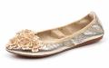 Golden flat women shoes