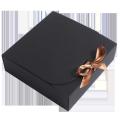 Custom flip over kraft gift box with ribbon in square shape