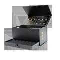 Custom book style packaging black cardboard gin wine box with drawer