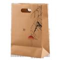 Custom reusable die cut handle kraft carry bag high quality handle