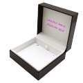 Customized Logo brown leatherette Packaging Rigid pendant jewelry Box with hinge