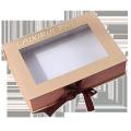 Custom garment gift box with window and ribbon closure,