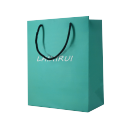 Luxury Emerald green color paper packing  for apparel and fashion big shopping bag  with twisted rope