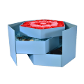 Custom light blue hexagon shaped flower box with window and ribbon for flower retail packing