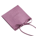 Custom luxury jewelry box accessories purple color microfiber packing bag with string closure