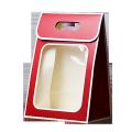 Custom die cut handle flower paper box with clear PVC window