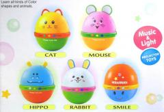 Projection lamp musical tumbler toys(Cat, Mouse, Hippo, Rabbit, Smlie, 5 types mix)/in Russian or English