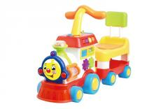 Electronic musical toys happy train head baby walker with seat