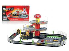 Toys car racing parking lot with 2 cars