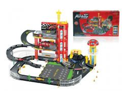 Toys car racing parking lot with 4 cars